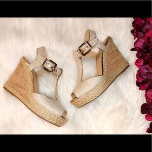 ANTONIO MELANI Canvas Cork Wedge Sandals